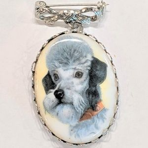 Jewelry - Vintage Dog Cameo Brooch Pin Ceramic Poodle Brooch